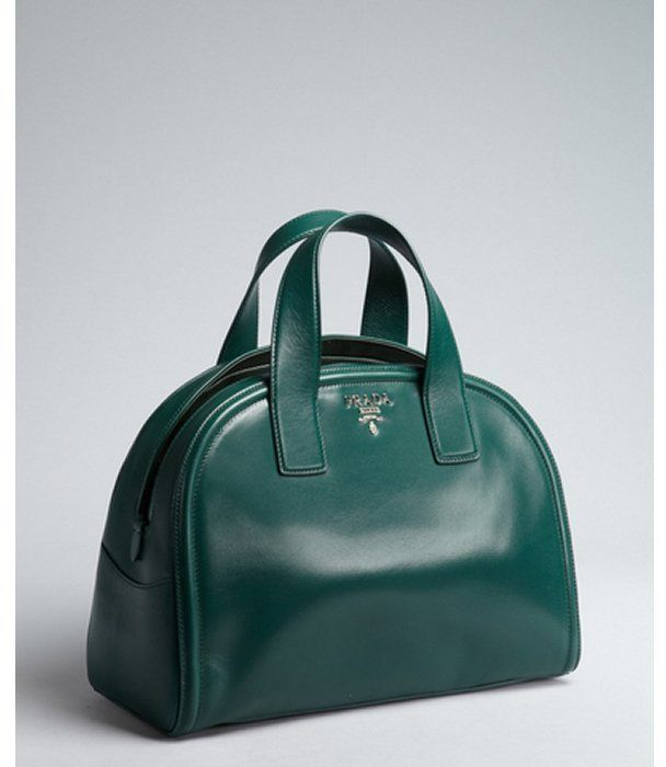 Prada forest green leather slit top logo detailed bowler bag