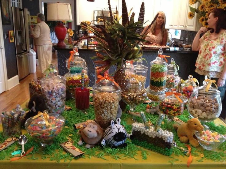Candy Buffet Jungle Baby Shower Ideas Pinterest