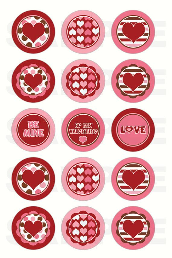 INSTANT DOWNLOAD Hearts Valentine's Day Bottle Cap by DigiPrintz, $1.25