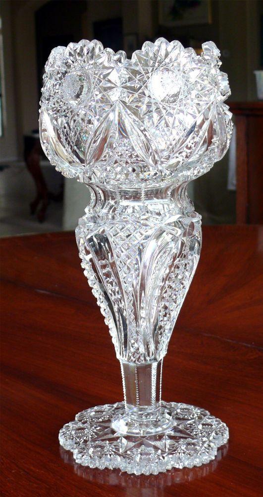 "Gorgeous Antique American Brilliant Period Cut Glass 10"" Vase ABC #Unbranded"