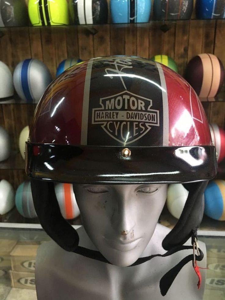 Custom AirBrush Motorcycle Half Helmet With Harley Davidson Skull Style #Unbranded #Motorcycle