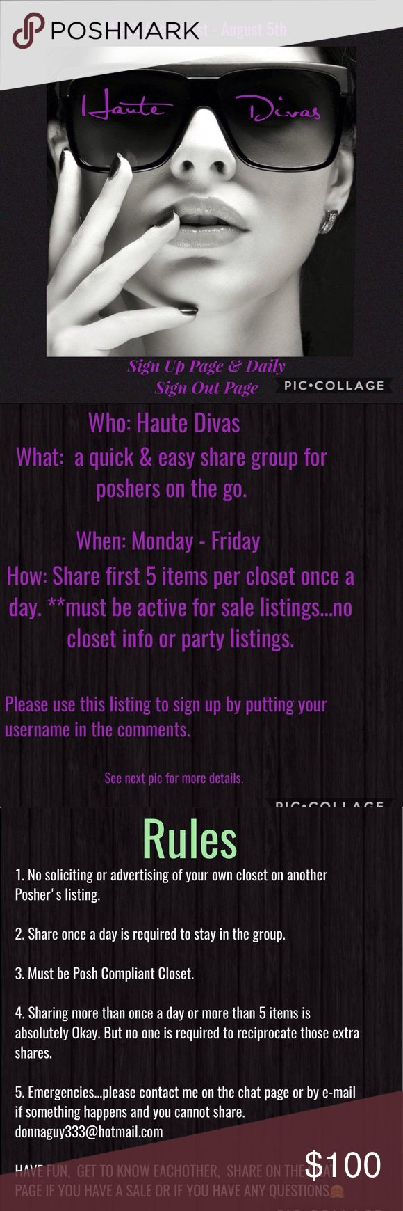 Haute Divas Share Group SIGN UPS extended to 10 am Haute Divas Share Group Sign Up page. Sign ups extended to 10 am Eastern Standard Time Zone Monday August 1st. Please sign up by putting your username in the comments. Must be Poshmark Compliant Closet. Please read pics & let me know if you have any questions. Thank you. Donna Anthropologie Tops