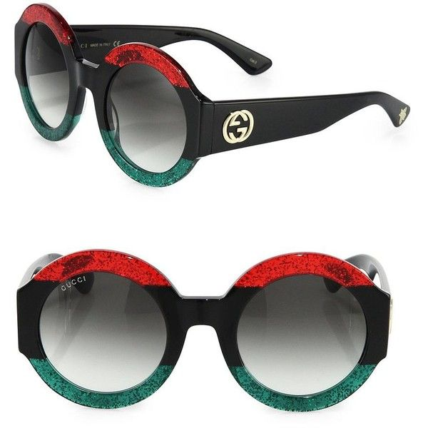 ffc936acb0 Gucci Women s 51MM Oversized Round Colorblock Sunglasses - Red- ( 565) ❤  liked on Polyvore featuring accessories