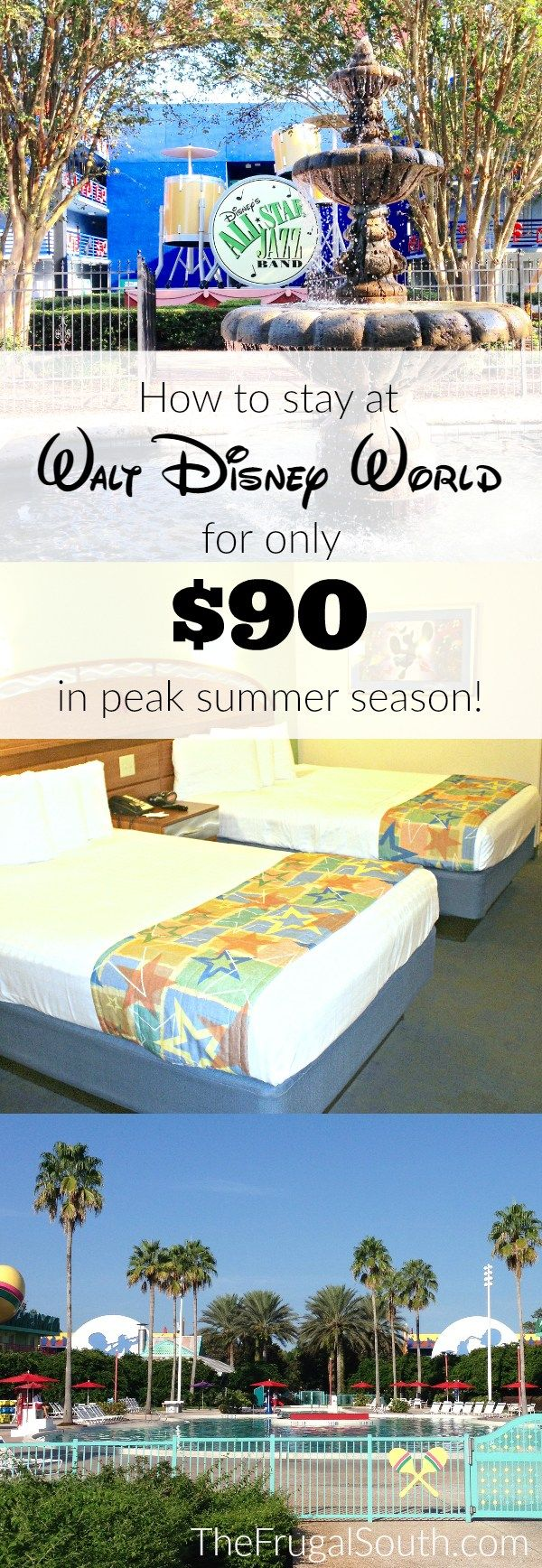 How to stay at a on-property Disney World hotel for only $90 per night, even in peak summer season! Tips and tricks for getting discounted Disney World hotel rooms that include all of the perks of staying on-site!