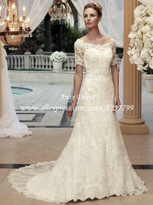 Free Shipping Modest Western Style Scoop Neck Lace Wedding Dress See Through Short Sleeves A Line Keyhole Back WI1385 US $236.96