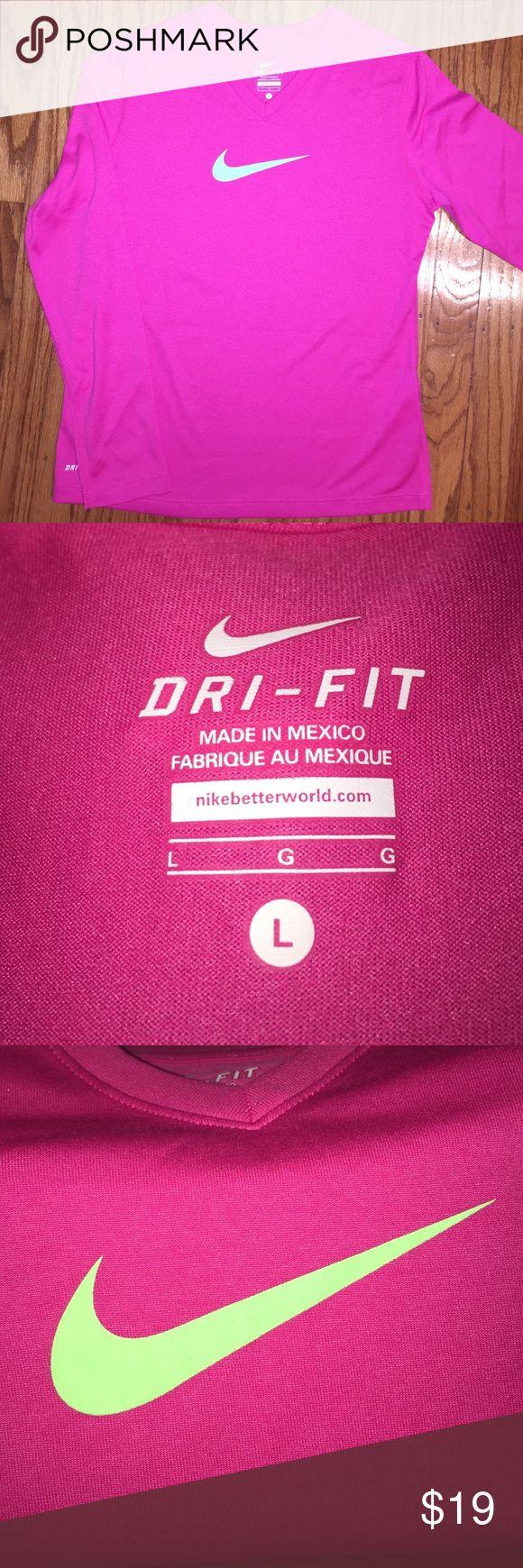 Price⬇️NIKE Girls Long Sleeve T. Size Large NIKE Dri-Fit Pink/Green Long Sleeve Tshirt. Size Large Nike Shirts & Tops Tees - Long Sleeve