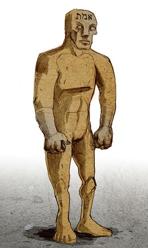 The Golem is a creature from Jewish folklore which was a clay figure animated by a holy man. It was generally unable to speak, lacked a soul, and followed orders like an automaton. The original Hebrew word can mean an unshaped form or figuratively a stupid person. In some versions of the legend, the golem always obeyed its creator but could act as a Literal Genie; the idea of the golem deliberately rebelling was only introduced later.