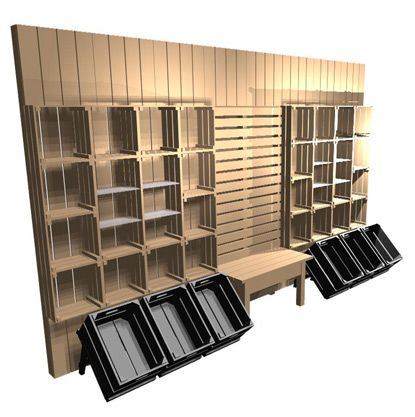 KIDS WALL- Boutique shelving from crates. Using our stacking crates, gift  tables and timber slatwall, a creative and natural approach to retail  display.