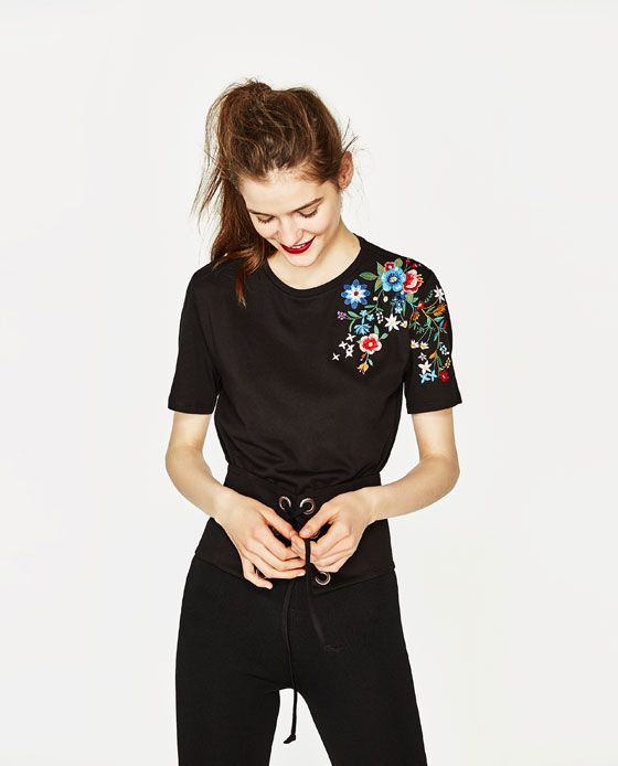 Image 2 of T-SHIRT WITH EMBROIDERED SHOULDER from Zara