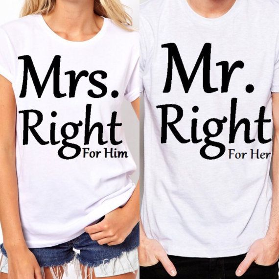 Mr and Mrs. Right/Couple Matching shirts by MyChildsDesigns