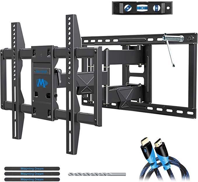 Amazon Com Mounting Dream Full Motion Tv Mount Wall Bracket Tv Wall Mounts For 42 75 Inch Tv Premium Tv Bracket Fits 16 In 2020 Wall Mounted Tv Mounted Tv Tv Wall