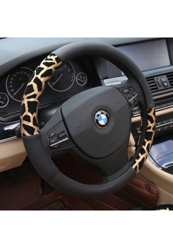 Cubierta del volante de coche personalizado estampado de leopardo tapiceria para auto