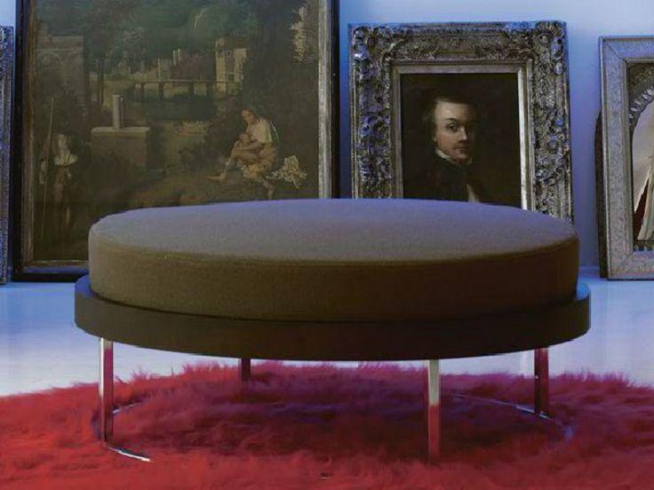 Pouf rembourré en bois avec revêtement amovible G.ROUND by LINFA DESIGN design Luigi Ronzoni
