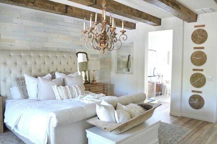 Schlafzimmer Im Landhausstil Glamour Weiss Deckenbalken Imitate