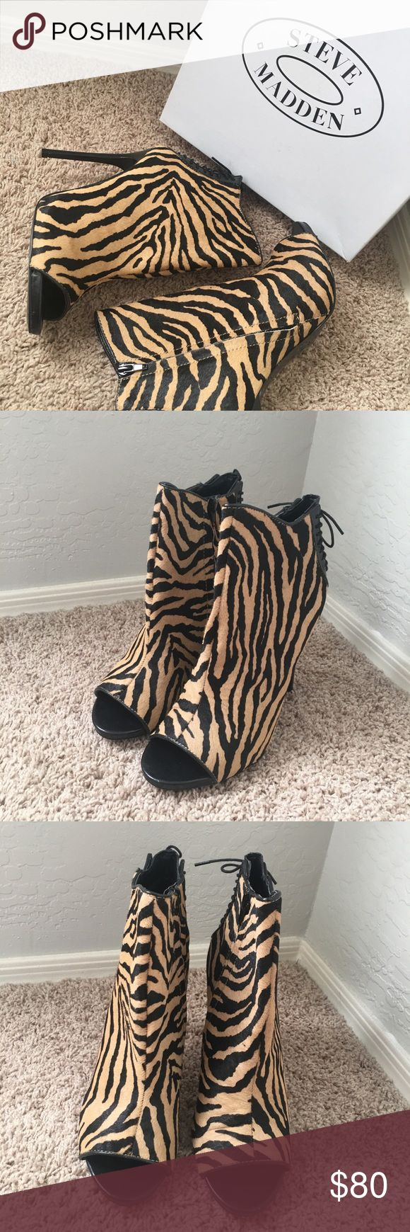 NWB Steve Madden Zebra Heels Fur animal print sandal bootie. For the woman who knows how to strut her stuff!  15% of this purchase will be donated to #TheHappyBraceletProject Steve Madden Shoes Ankle Boots & Booties