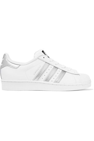 adidas Originals - Superstar Metallic-trimmed Leather Sneakers - White - US