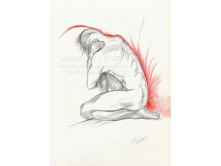 Male Nude Original, Contemporary Fine Art, Figure Drawing in Colored Pencil and Graphite