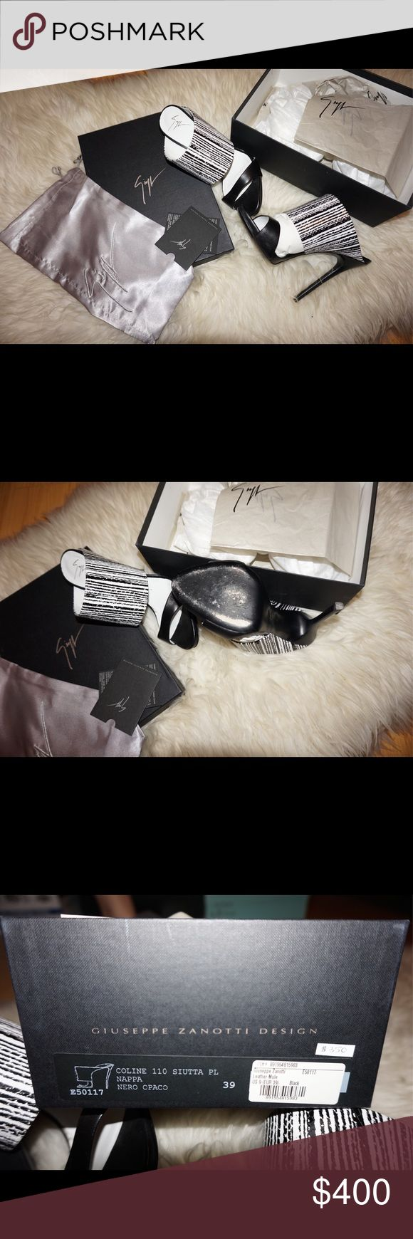Giuseppe Zanotti Black White heels Worn Twice Giuseppe Zanotti heels 100% authentic comes with box Giuseppe Zanotti Shoes Heels #giuseppezanottiheelswhite