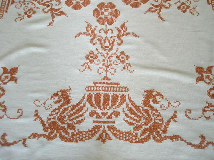 Decke Tischdecke kräftiges Leinen weiß Medaillon Handarbeit Drachen 124 x 116   eBay