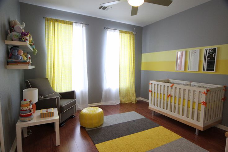 Eric 39 s gray and yellow modern nursery grey yellow for Yellow gray paint colors