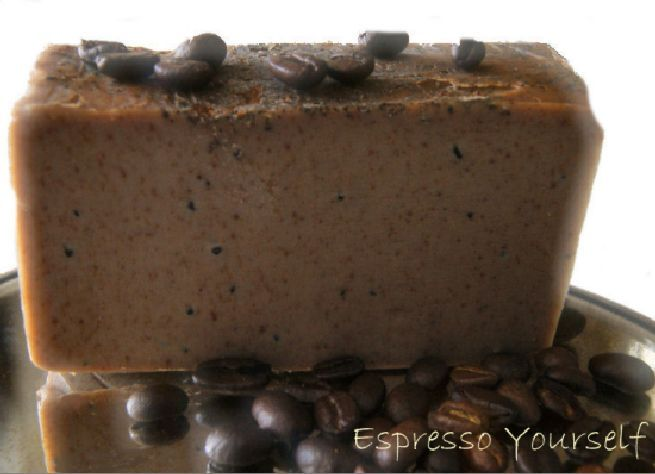 Espresso Yourself (Coffee Soap) Saponified Organic oils of: Shea Butter, Coconut oil, Olive Oil, Castor Oil, Palm Oil (sustainable), ground organic coffee, organic coffee beans along with Orris Root, Vitamin E and Rosemary Extract Caffeine in coffee are  effective to lessen the appearance of cellulite and the caffeine in coffee also helps to dilate blood vessels, which tones & tightens tissue & it can increase circulation. Large 7 oz. Bar Will last approximately 6-8 weeks in the shower! $12