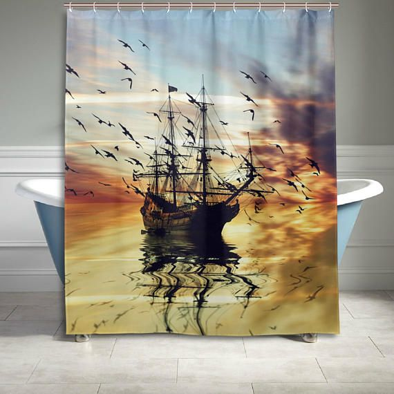 sea pirate ship shower curtain 60 x 72 inch bathroom sets home decor gift for her