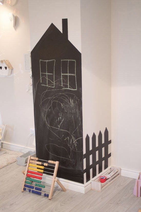 Chalkboard house and picket fence, a nice twist on the standard. #estella #kids #decor