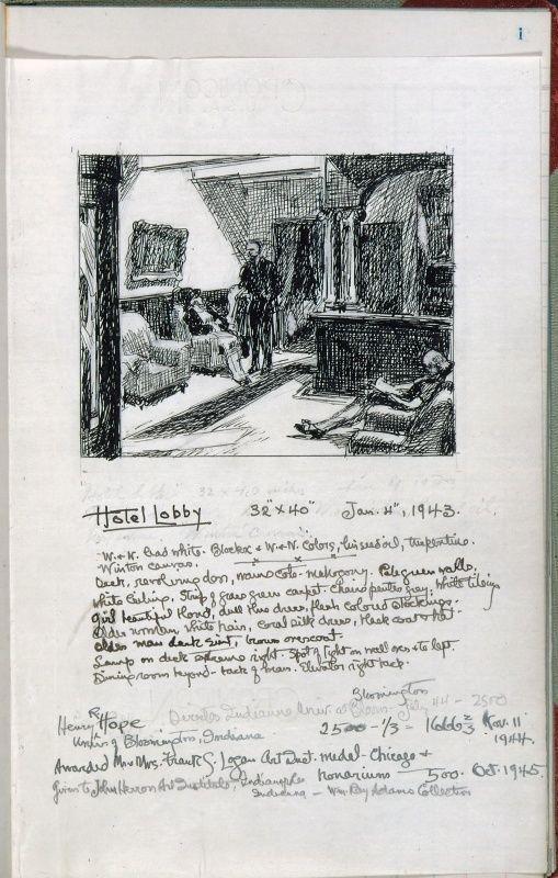 Whitney Museum of American Art: Edward Hopper: Artist's ledger—Book III