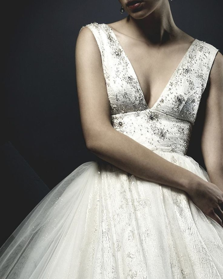 V neck, soft gold silk, cinched waist wedding dress with luxurious pearl and crystal beadwork. Miss Ruth wedding dress from Ersa Atelier 2018 bridal couture collection.