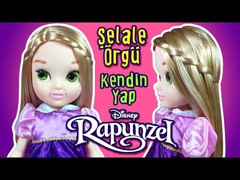 Disney Rapunzel Bebeği Şelale Saç Örgü Modeli - Kendin Yap Oyuncak Bebek Saç Modelleri - YouTube