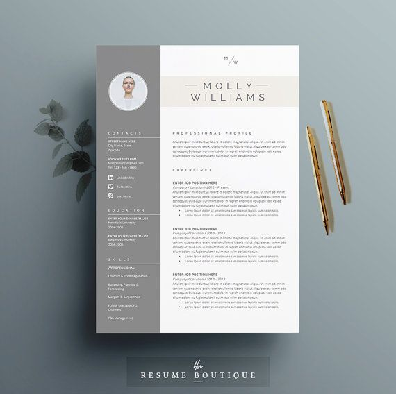 3pk resume cv template cover letter for ms word instant digital download peaches