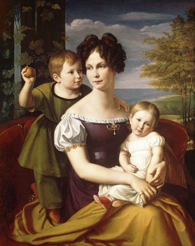 Friedrich Wilhelm von Schadow - Alexandrine von Mecklenburg mit ihren beiden Kindern