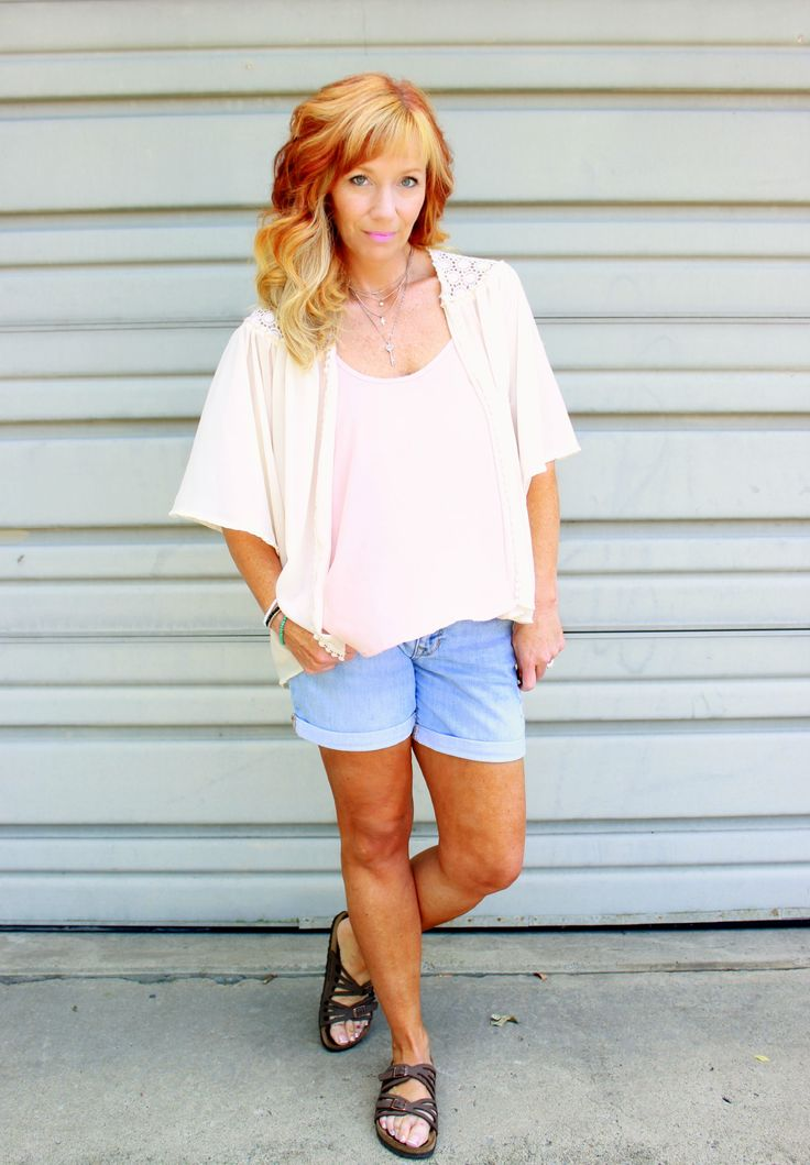Fashion Fairy Dust style blog: pink cami, ivory kimono, Birkenstocks, hair extensions