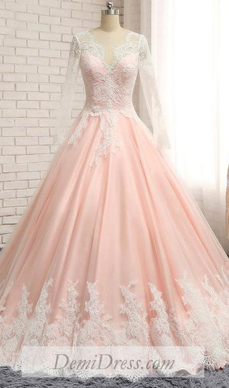 a9124f2f0e Ball Gown Plus Size Prom Dress African Long Sleeve Pink Prom Dress   VB4550  in 2019