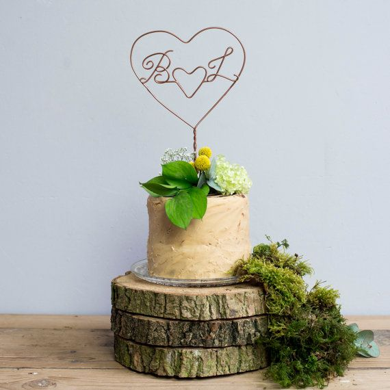 Double Heart Personalised Initial Wire Cake Topper - Wedding Cake Topper - Wire Cake Topper - Cake Decoration - Cake Topper - Bouquet Topper