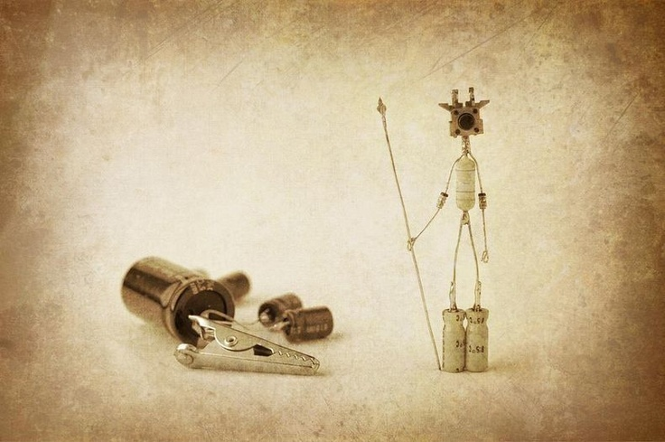 Sparebots: little figures made from electronic spare parts
