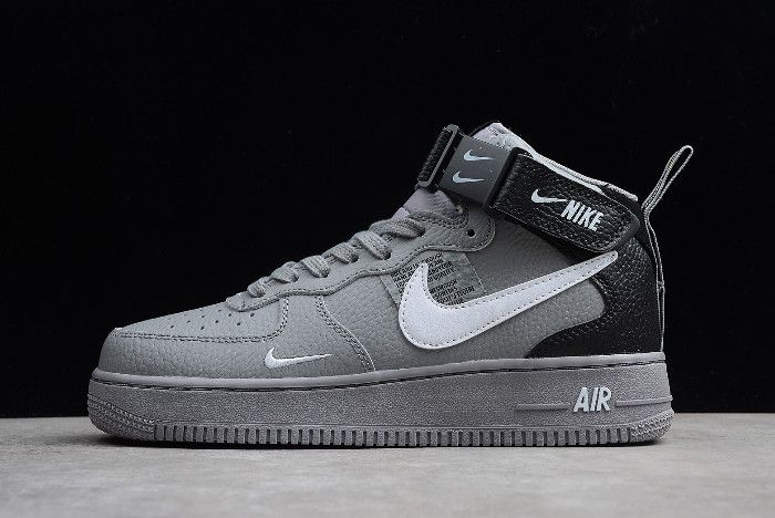 Nike Air Force 1 Af1 Mid 07 Lv8 Wolf Grey White Black 804609 006