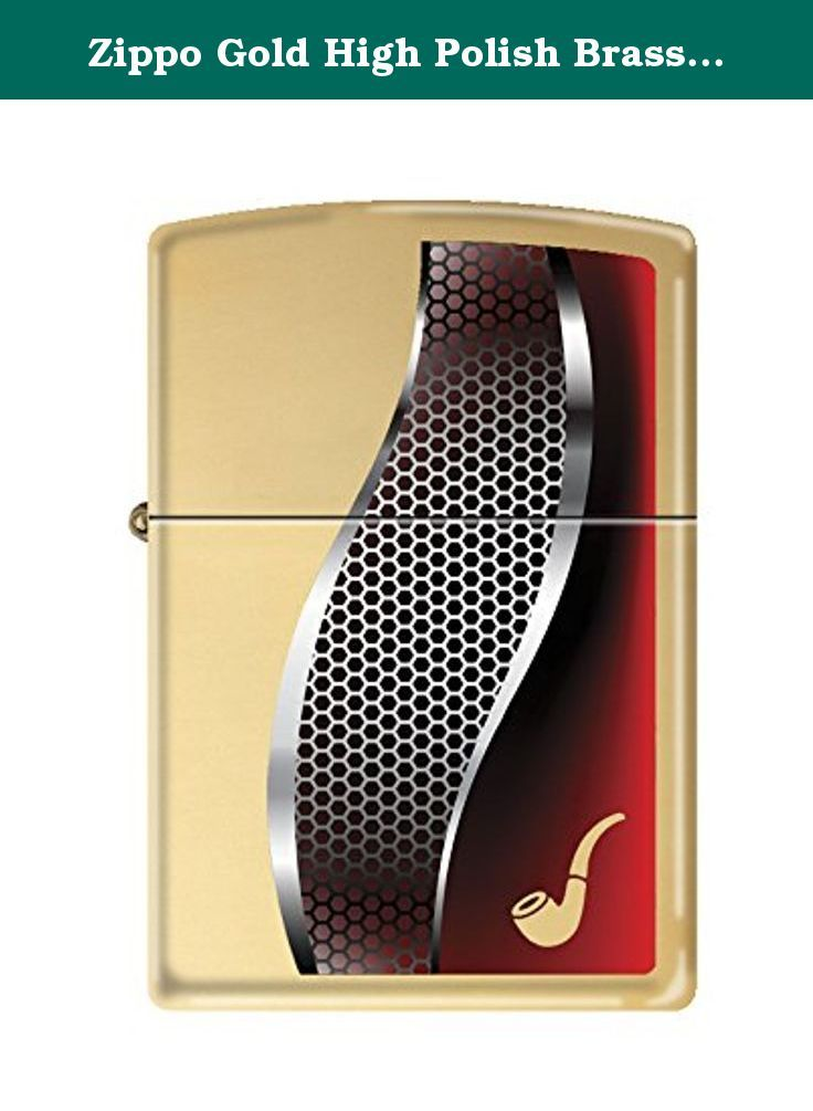 Zippo Gold High Polish Brass Pipe Lighter. This high polish brass lighter features a metal pattern and red stripe design with a brass pipe design in the corner of the lighter. Comes packaged in an environmentally friendly gift box. For optimal performance, fill with Zippo premium lighter fluid.