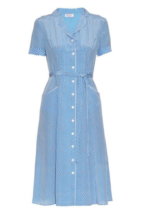 '40S-INSPIRED DRESSES Dresses of the 1940s were feminine and nipped at the waist, often complete with a matching belt. While strong shoulder pads also dominated the decade, no need to bring that into now.  HVN Maria Heart- ♥♥♥