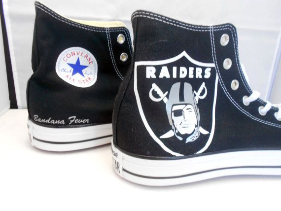 Converse Hi Black Oakland Raiders  FREE by BandanaFeverDesigns