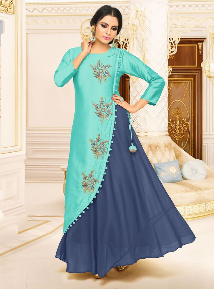 Buy Cyan Satin Readymade Gown 120307 online at lowest price from our mens indo western collection at m.indianclothstore.c.