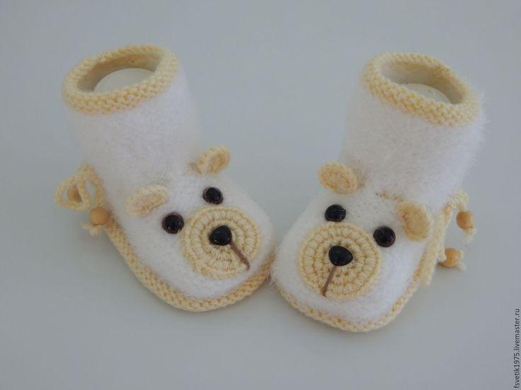 Купить пинетки Белые мишки - белый, пинетки, пинетки для новорожденных, пинетки для девочки, пинетки в подарок