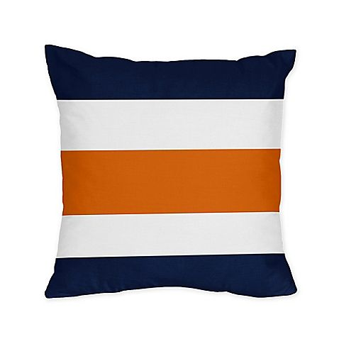 Sweet Jojo Designs Navy and Orange Stripe Throw Pillows (Set of 2)