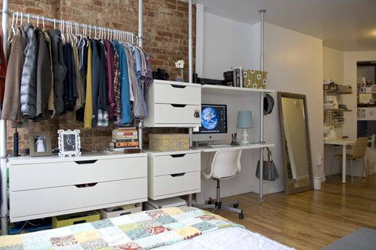 storage: Closet Offices, Bedrooms Storage, Open Closet, Brick Wall, Small Apartment, Wall Storage, Closet Solutions, Small Spaces, Storage Ideas