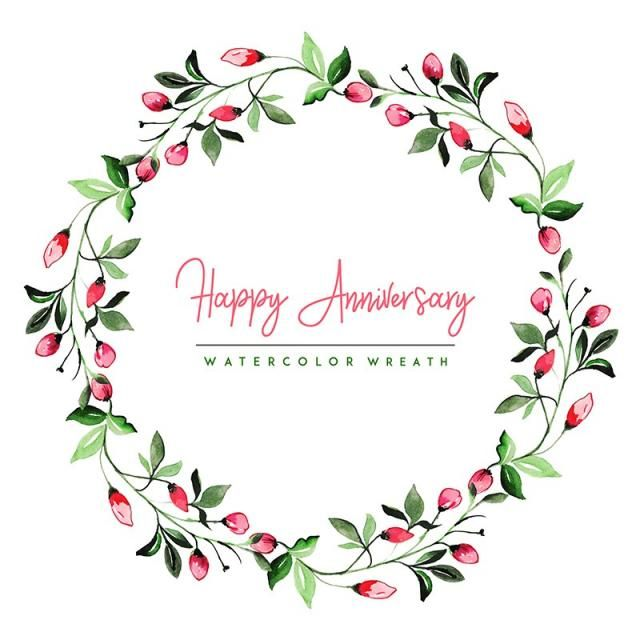 Watercolor Floral Happy Anniversary Wreath Background Watercolor Color Floral Png And Vector With Transparent Background For Free Download Wreath Watercolor Floral Watercolor Floral Vector Png