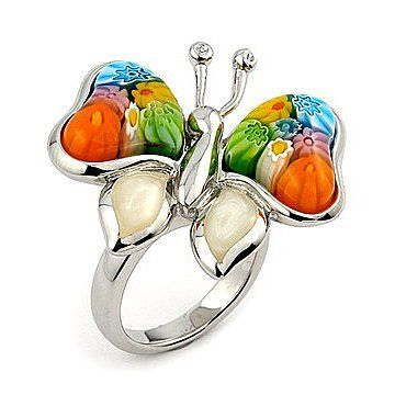 Murano Glass Millefiori Butterfly Ring West Coast Jewelry. $109.95