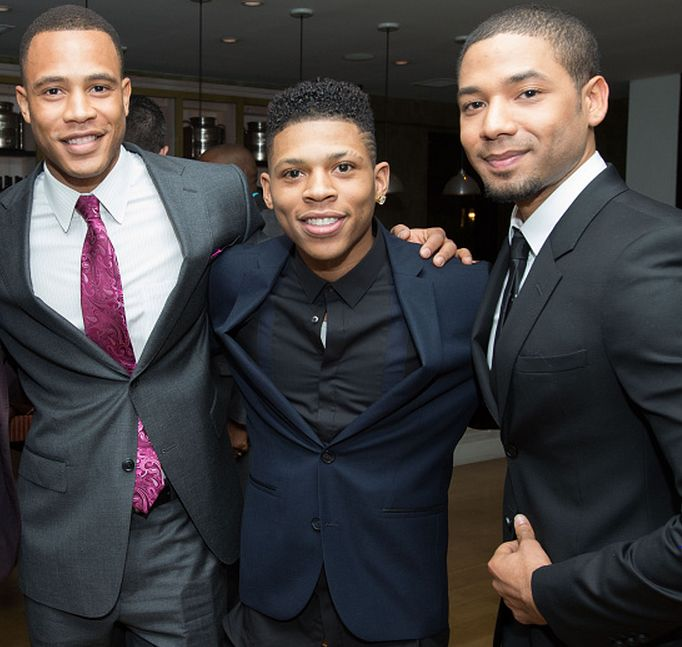Trai Byers, Bryshere Gray and Jussie Smollett pose for a photo at the Uptown Pre-Oscar Gala honoring Lee Daniels at Fig & Olive Melrose Place on February 19, 2015