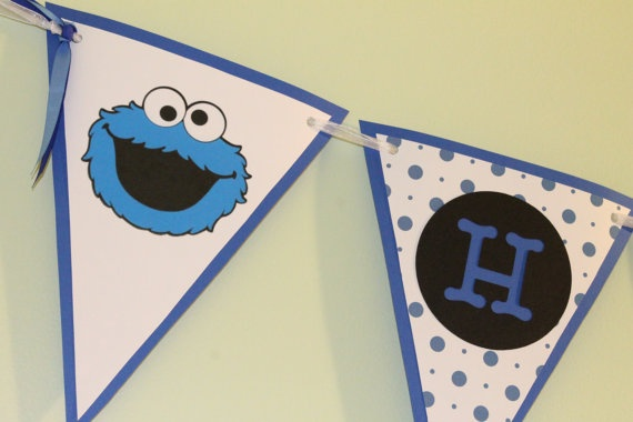 Banner Cookie Monster Birthday by ThatsSoCuteEtsyShop on Etsy, $40.00