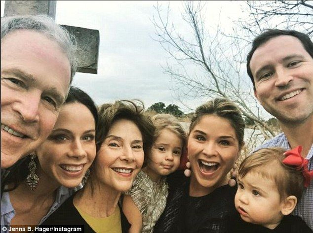 Today host Jenna Bush Hager (pictured) shared sweet photos of her family as they prepared for their Christmas celebrations. The mother-of-two posted one photo of her father and former president, George W. Bush with former first lady Laura Bush and her twin sister Barbara Bush