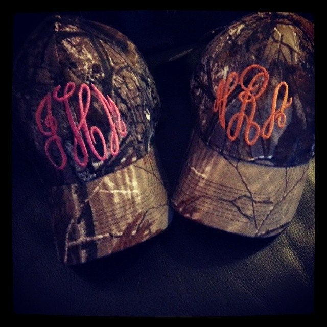 Monogrammed Camo Hat by InitialDesignsbyPam on Etsy, $15.00